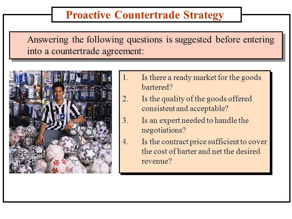 Proactive Countertrade Strategy