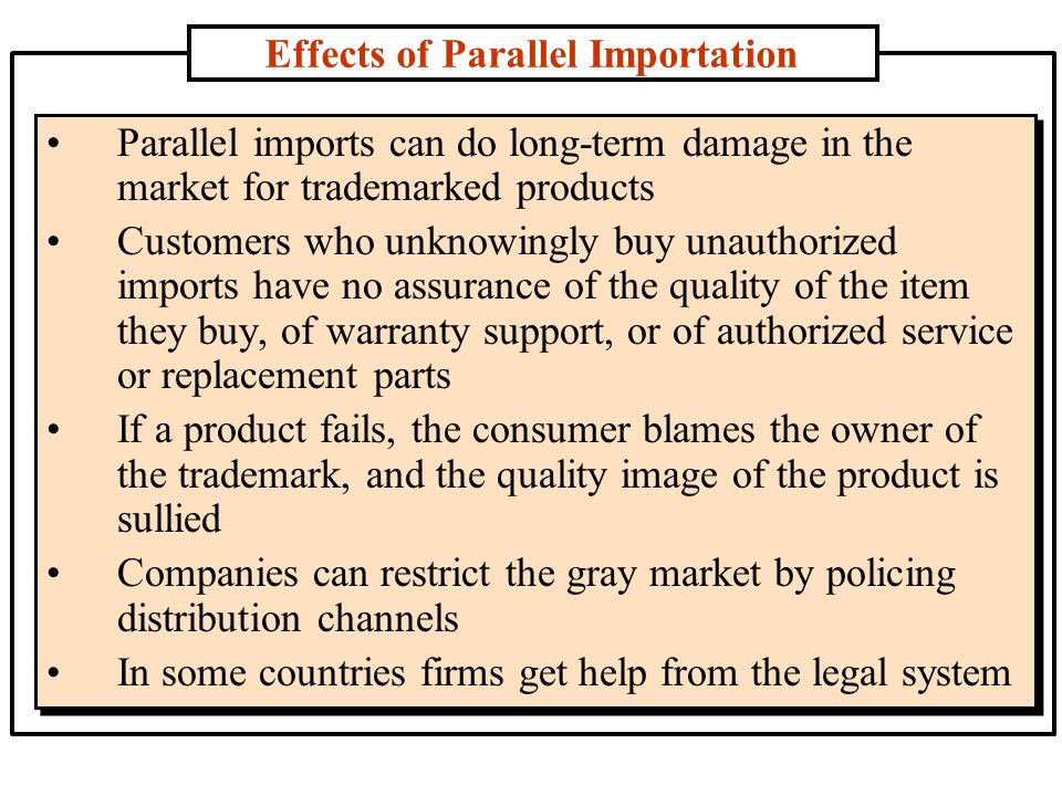 Effects of Parallel Importation