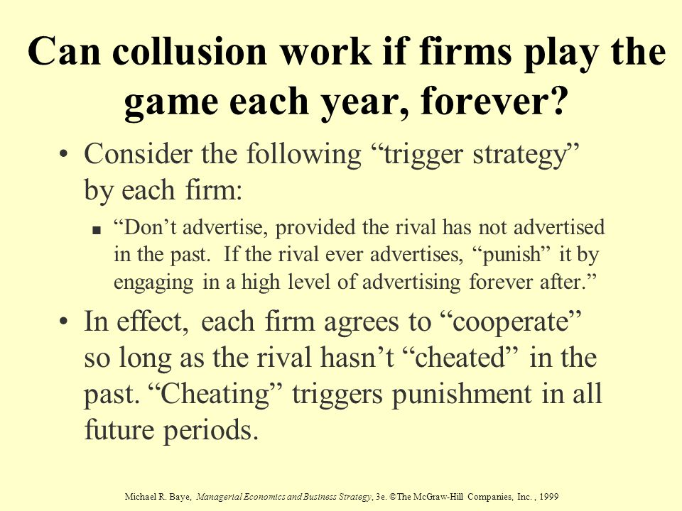 Can collusion work if firms play the game each year, forever