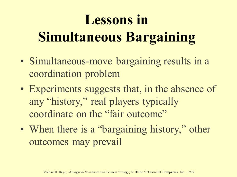 Lessons in Simultaneous Bargaining