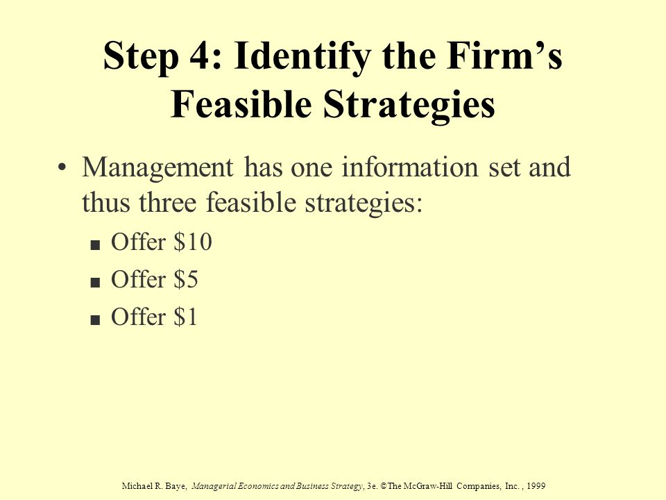 Step 4: Identify the Firm's Feasible Strategies