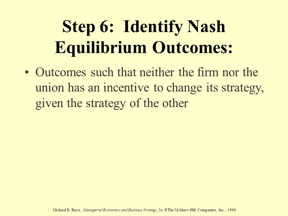 Step 6: Identify Nash Equilibrium Outcomes:
