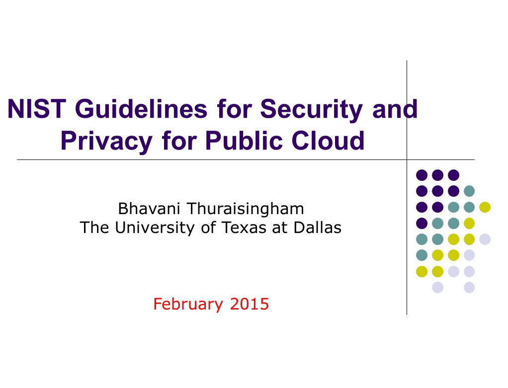 NIST Guidelines for Security and Privacy for Public Cloud