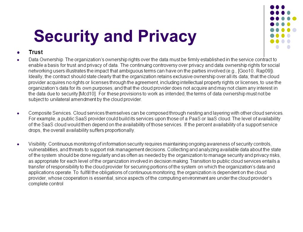 Security and Privacy Trust