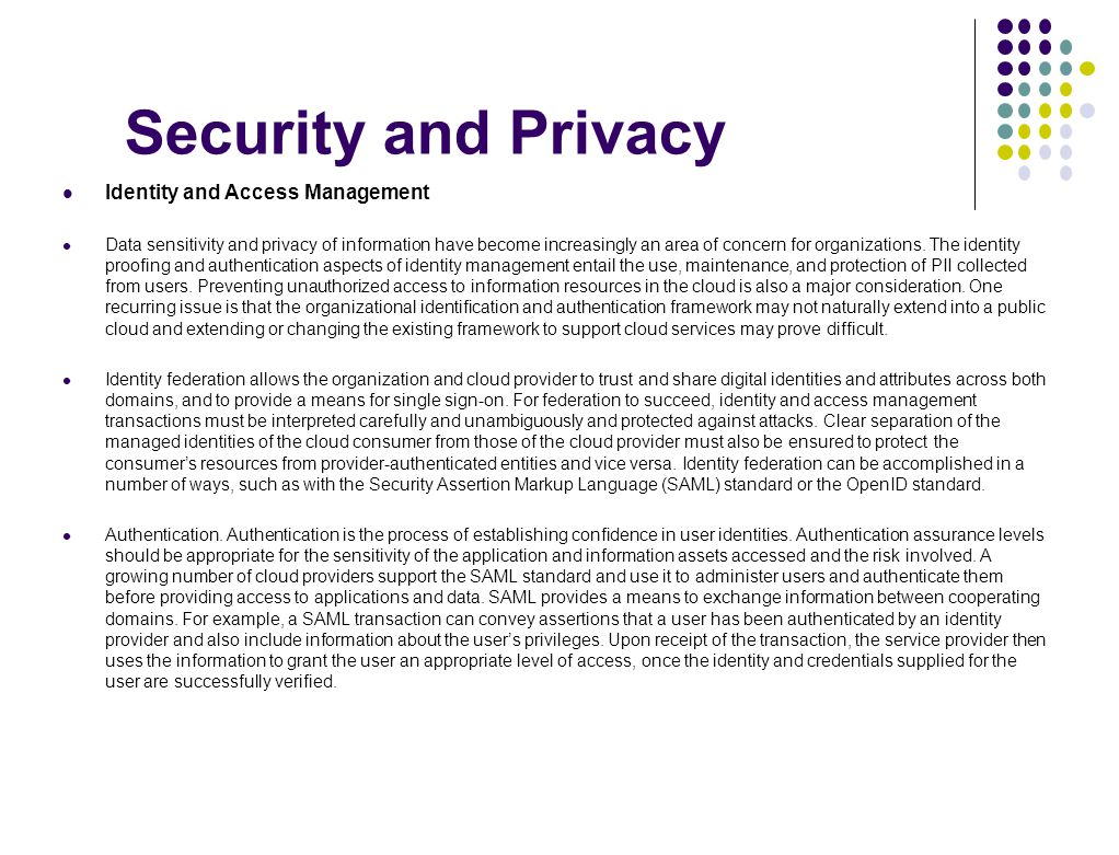 Security and Privacy Identity and Access Management