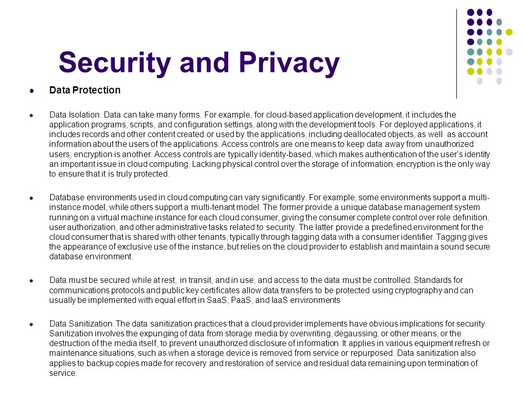 Security and Privacy Data Protection