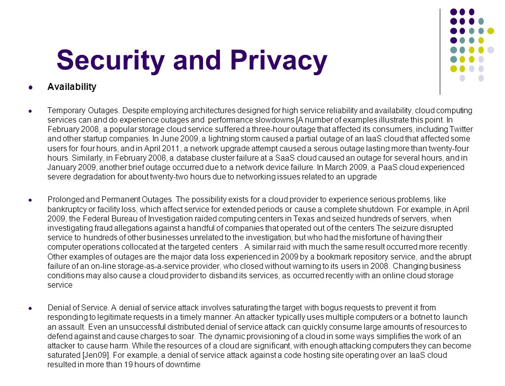 Security and Privacy Availability
