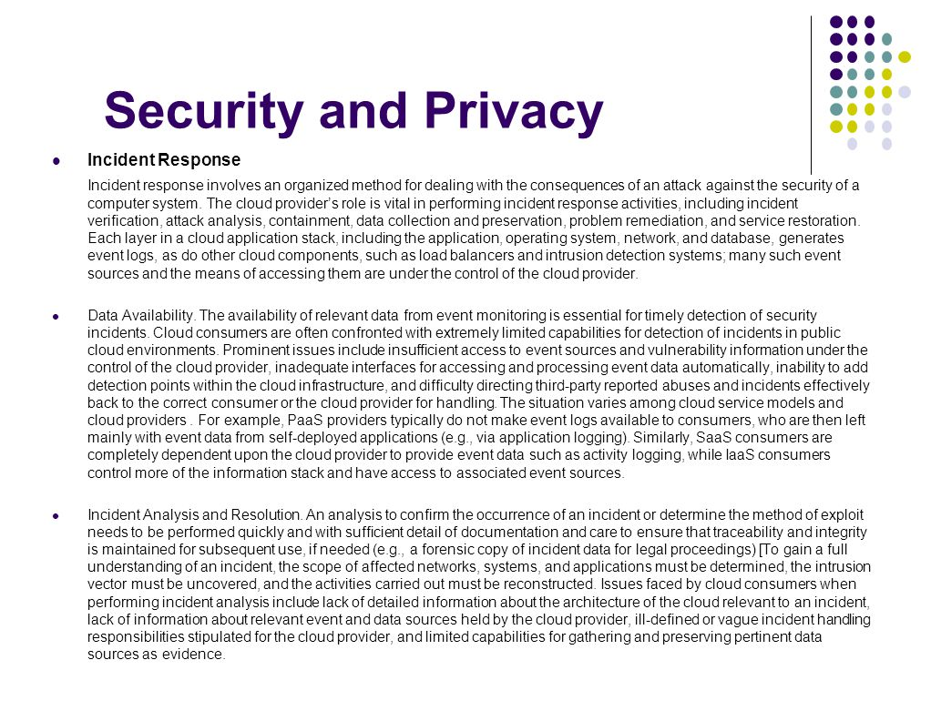 Security and Privacy Incident Response