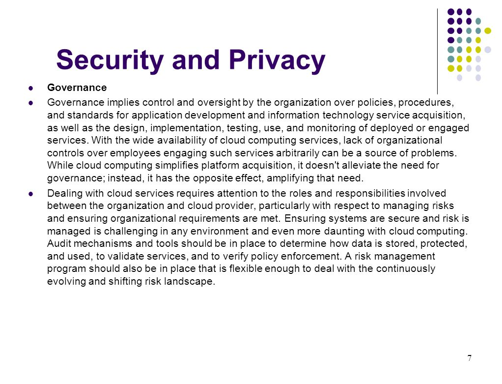 Security and Privacy Governance