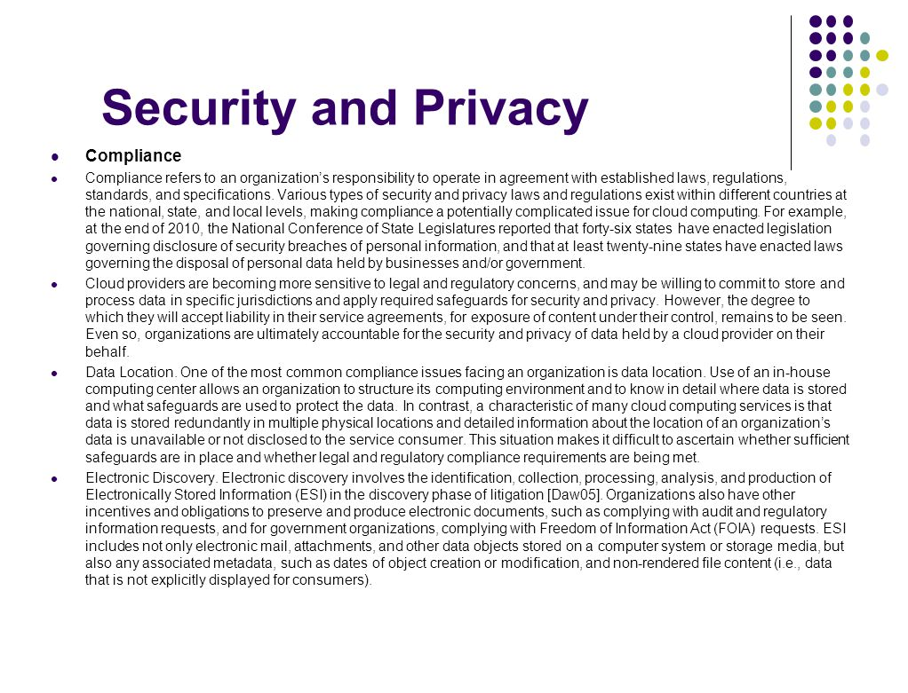 Security and Privacy Compliance