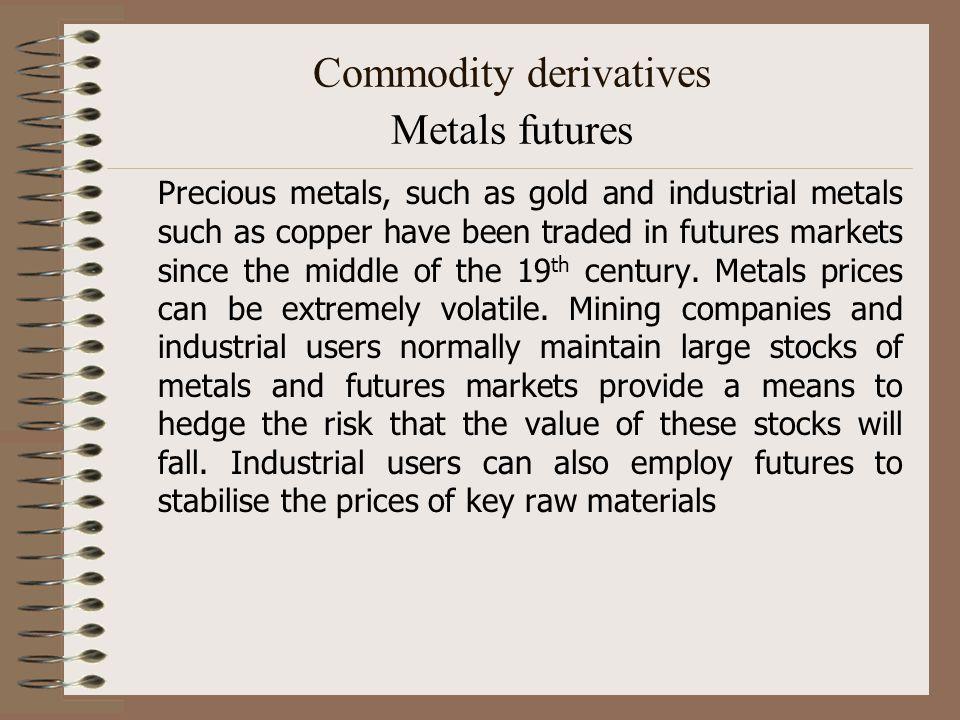 Commodity derivatives Metals futures