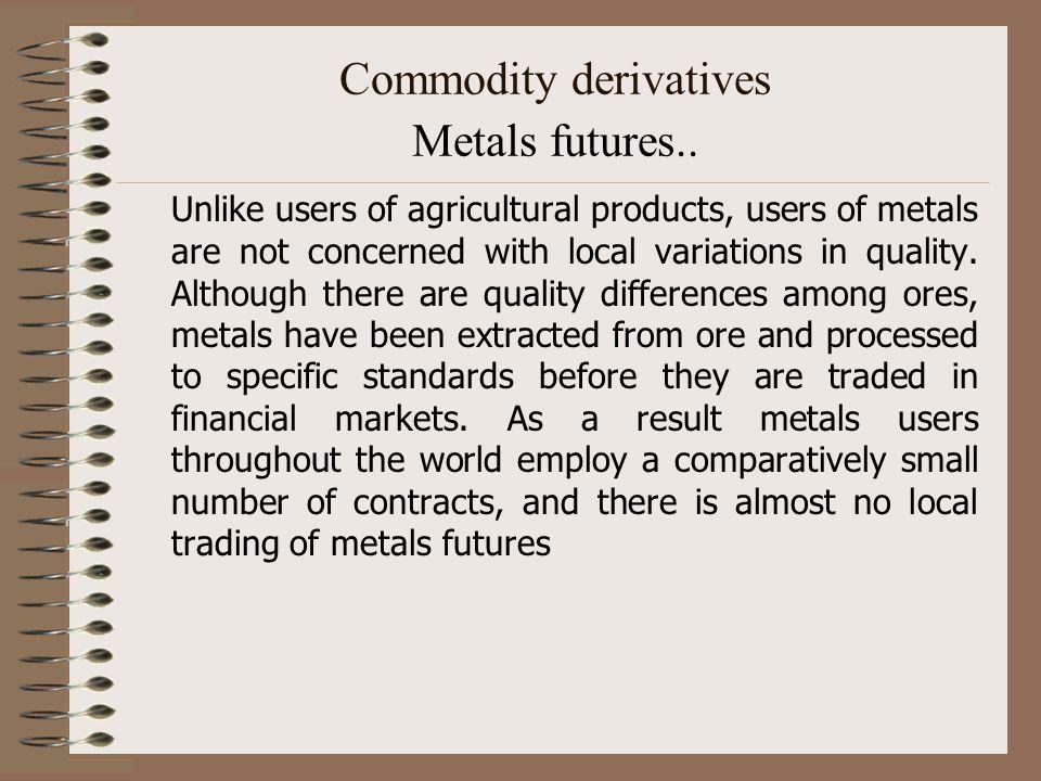 Commodity derivatives Metals futures..