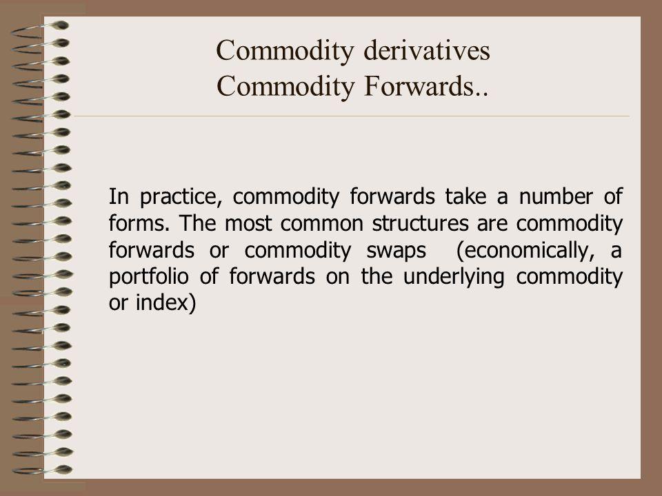 Commodity derivatives Commodity Forwards..