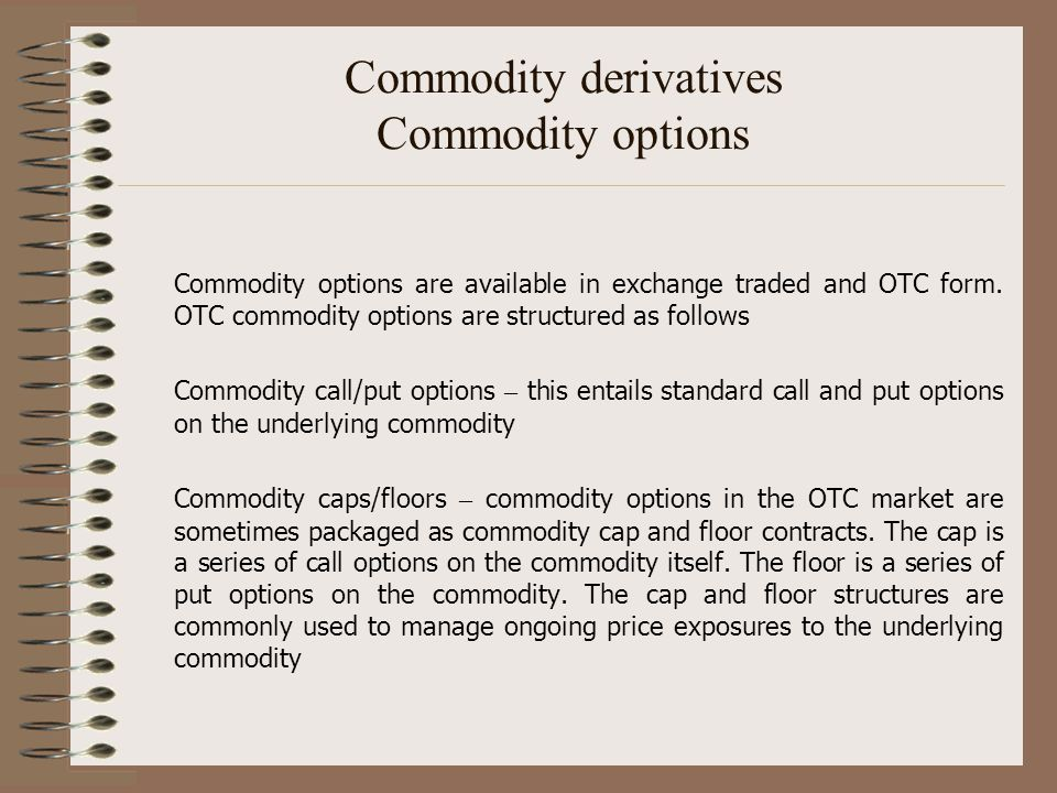 Commodity derivatives Commodity options