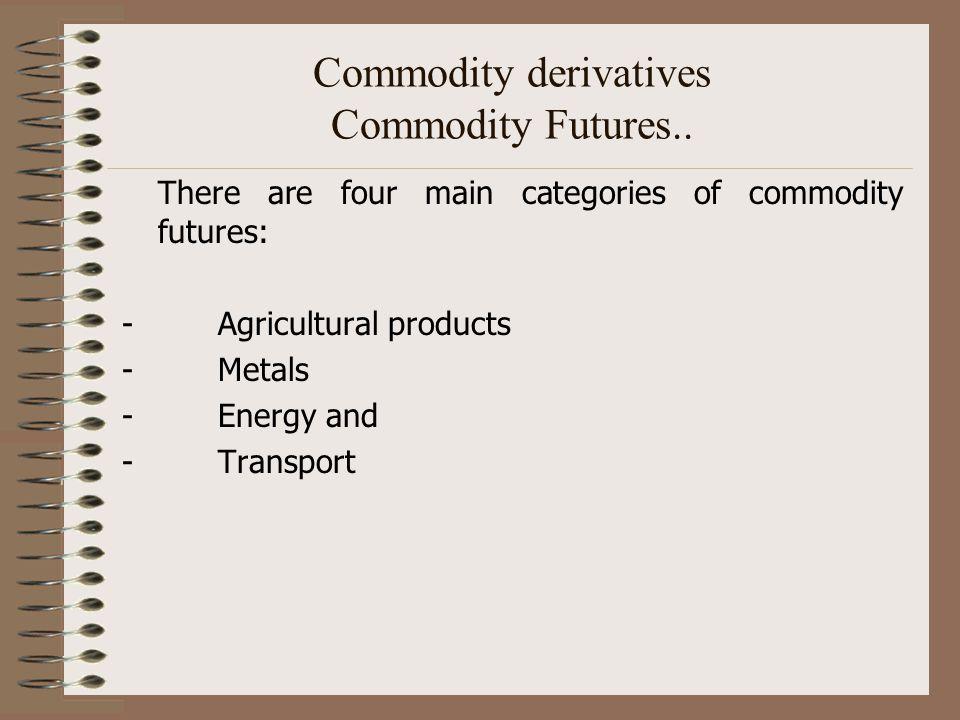 Commodity derivatives Commodity Futures..