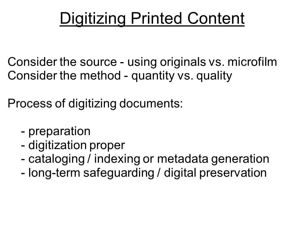 Digitizing Printed Content