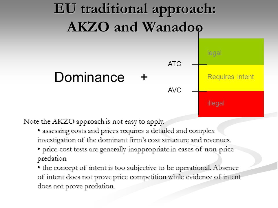 EU traditional approach: AKZO and Wanadoo