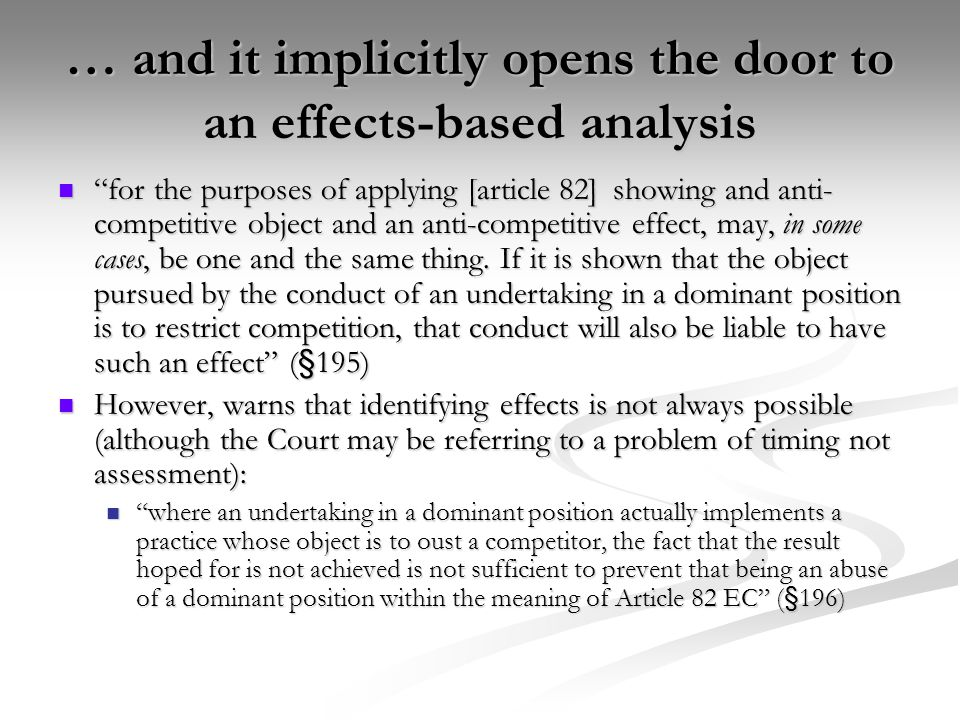 … and it implicitly opens the door to an effects-based analysis