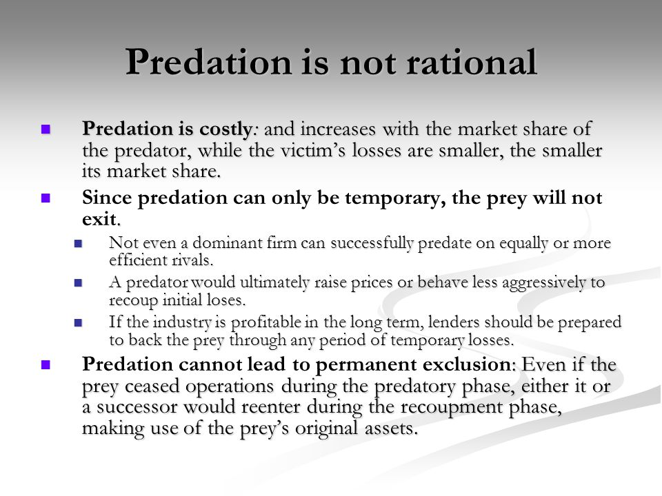 Predation is not rational
