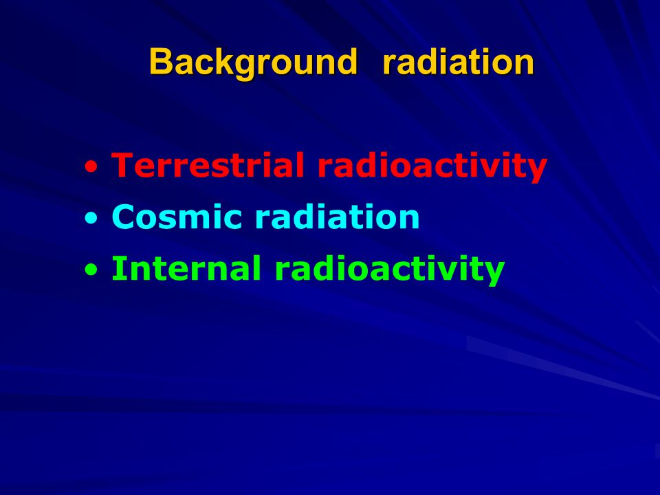 Background radiation Terrestrial radioactivity Cosmic radiation