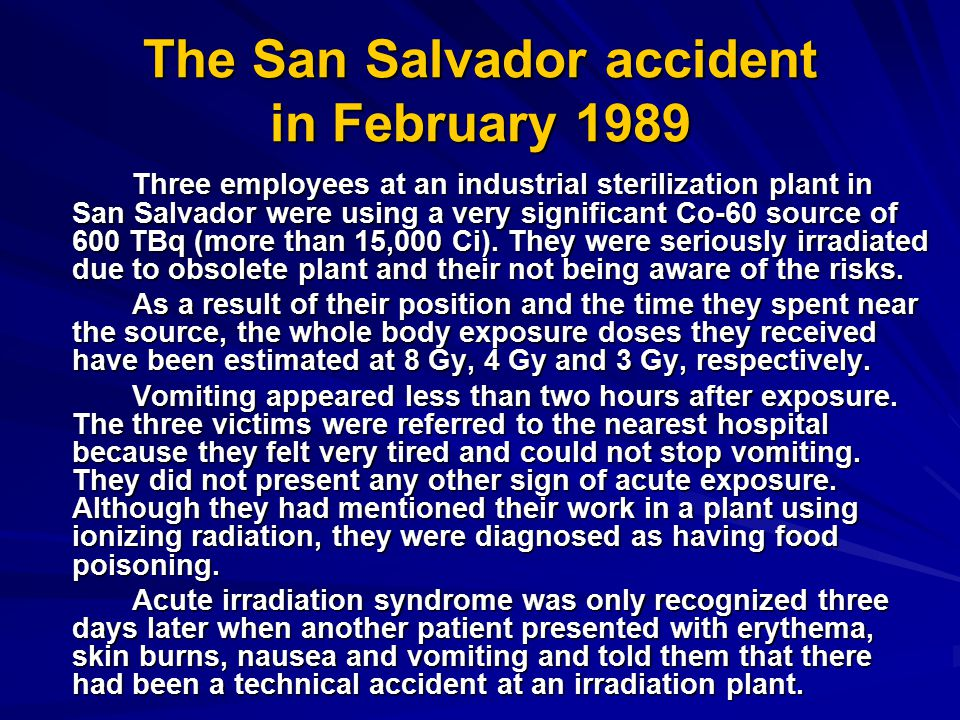 The San Salvador accident in February 1989