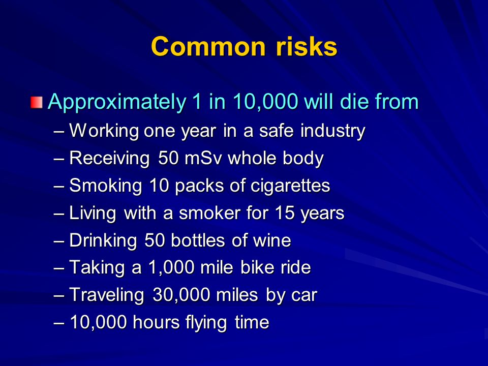 Common risks Approximately 1 in 10,000 will die from