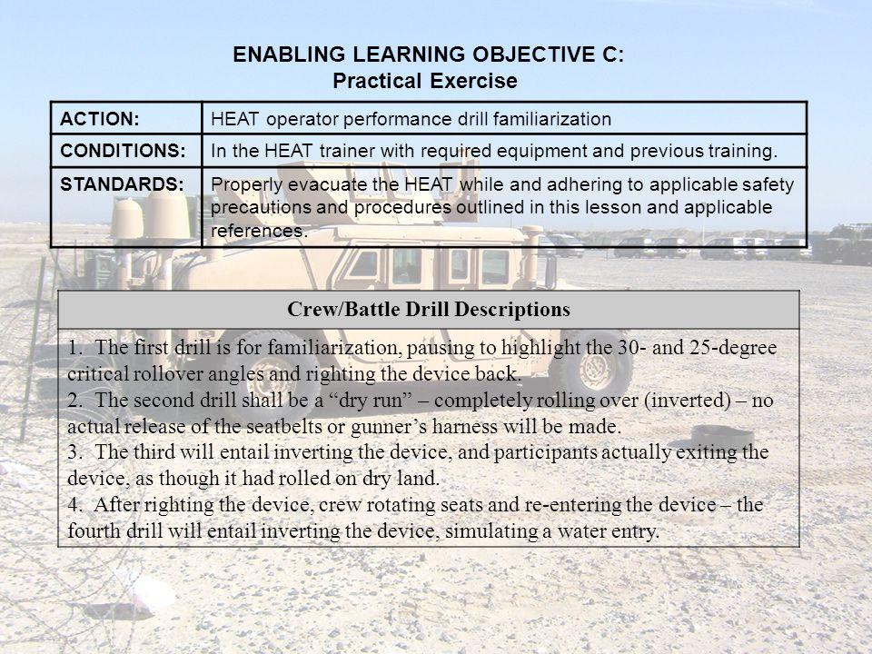 ENABLING LEARNING OBJECTIVE C: Crew/Battle Drill Descriptions