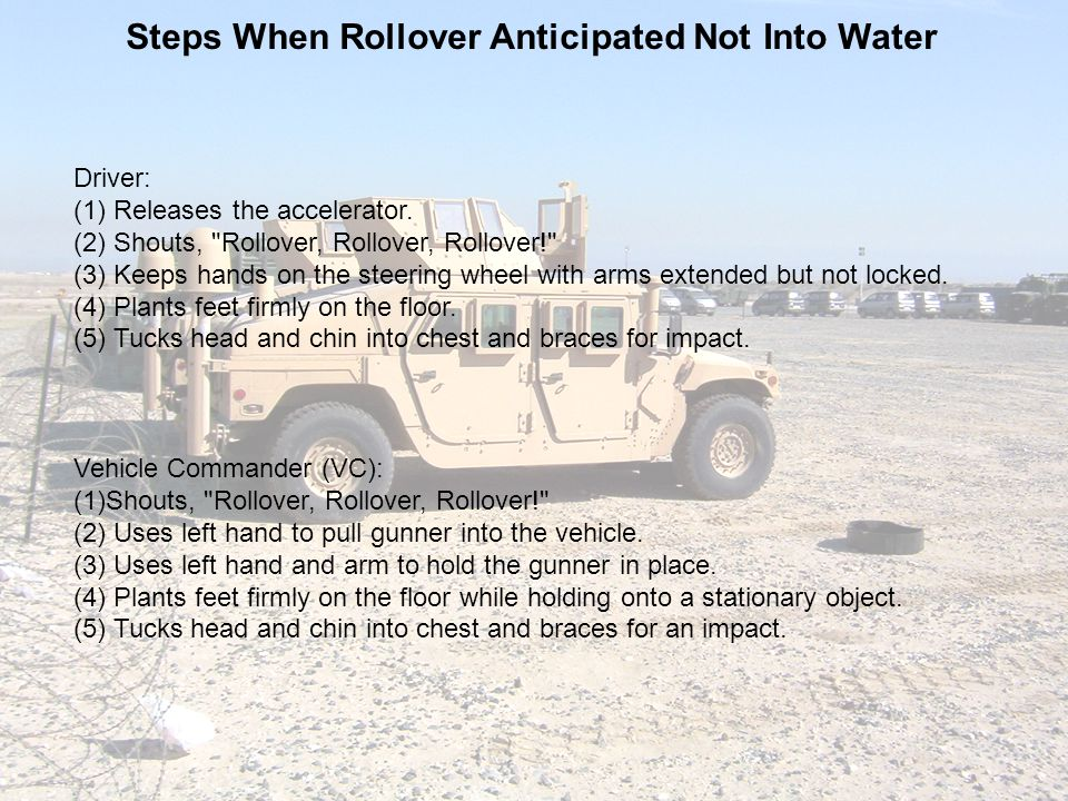 Steps When Rollover Anticipated Not Into Water