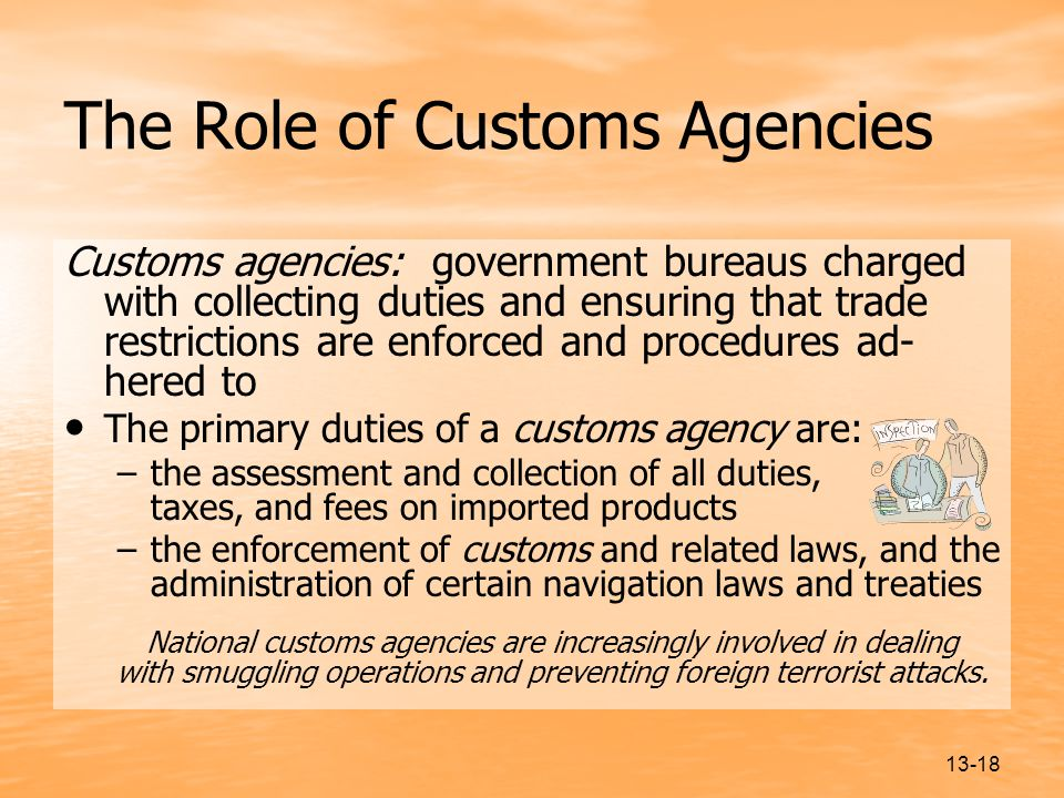 The Role of Customs Agencies