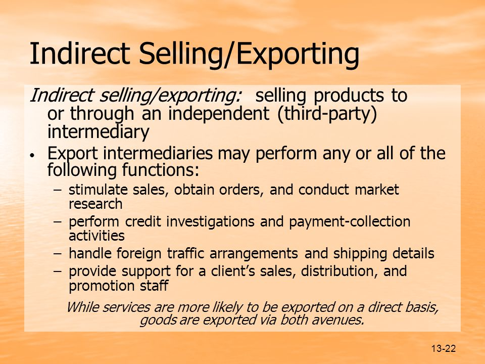 Indirect Selling/Exporting