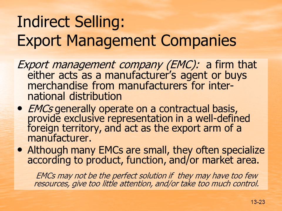 Indirect Selling: Export Management Companies