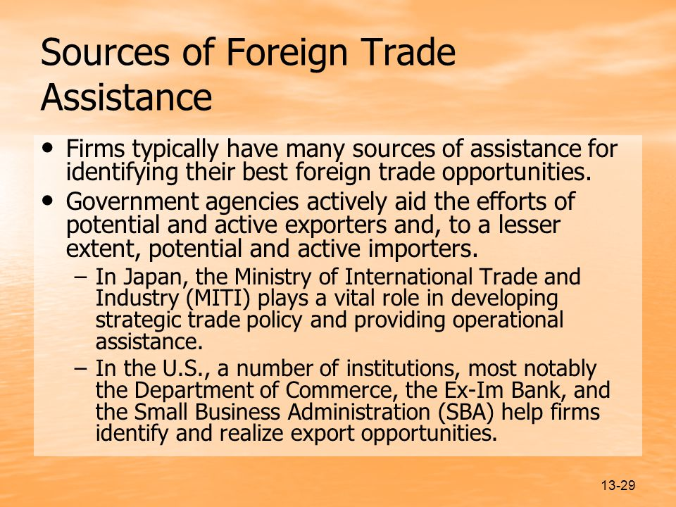 Sources of Foreign Trade Assistance