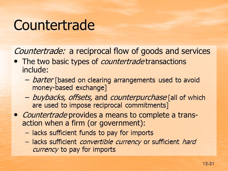 Countertrade Countertrade: a reciprocal flow of goods and services