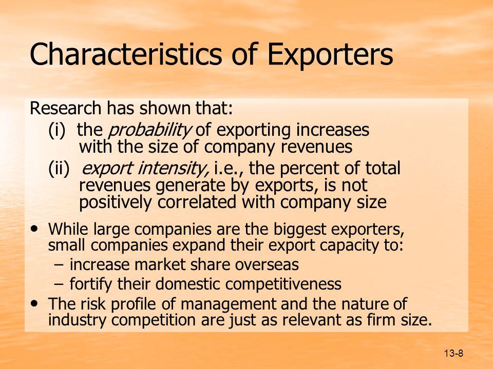 Characteristics of Exporters