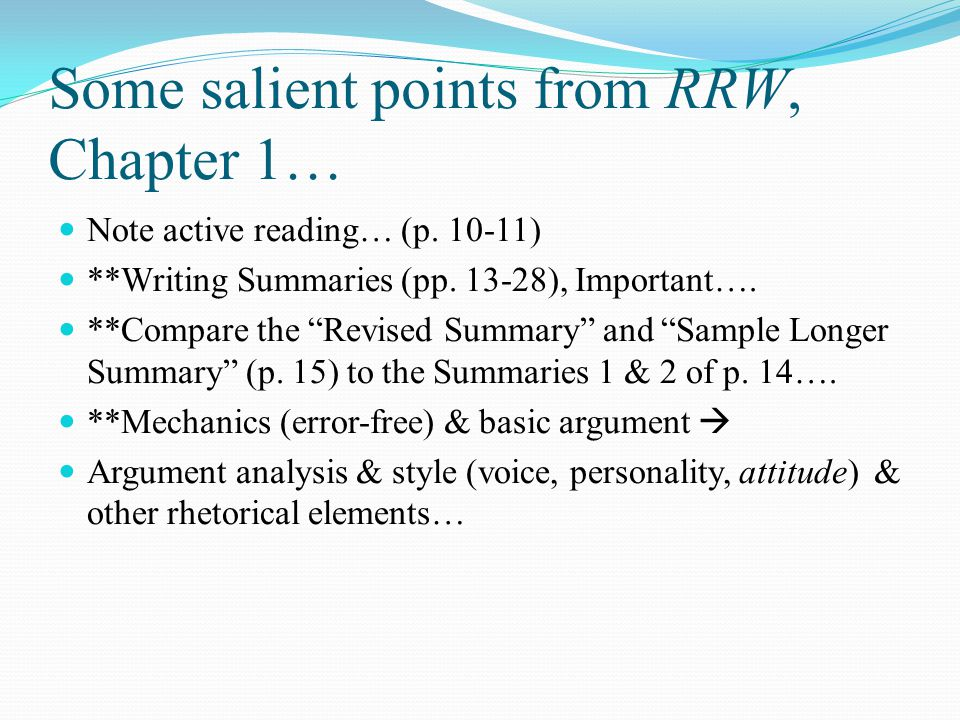 Some salient points from RRW, Chapter 1…