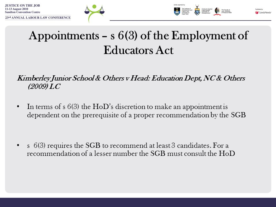 Appointments – s 6(3) of the Employment of Educators Act