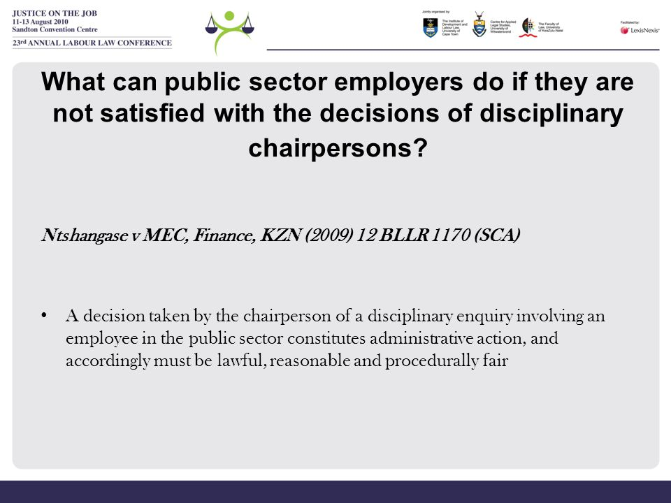 What can public sector employers do if they are not satisfied with the decisions of disciplinary chairpersons