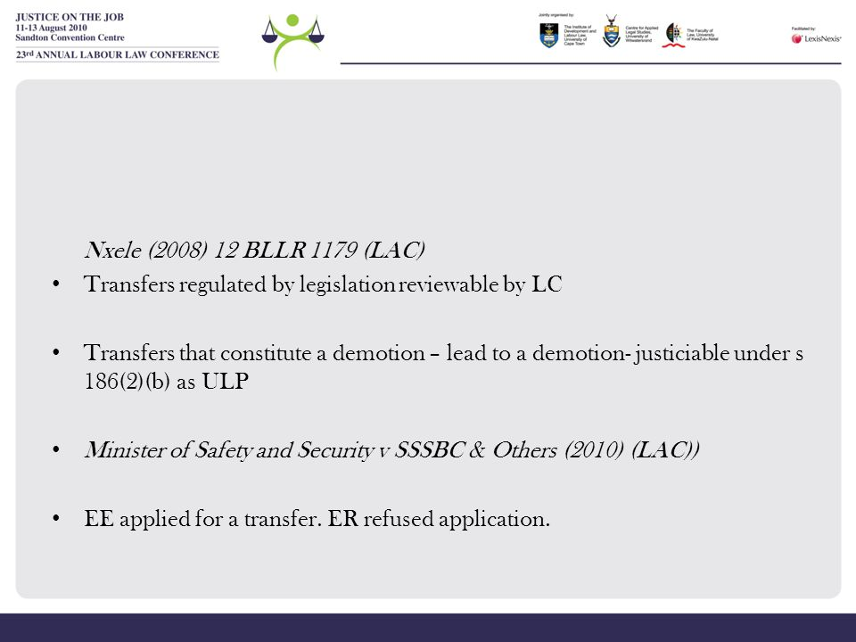 Transfers regulated by legislation reviewable by LC