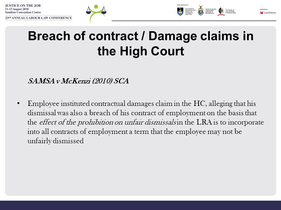 Breach of contract / Damage claims in the High Court