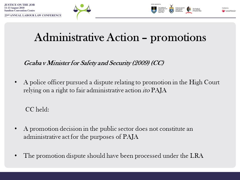 Administrative Action – promotions