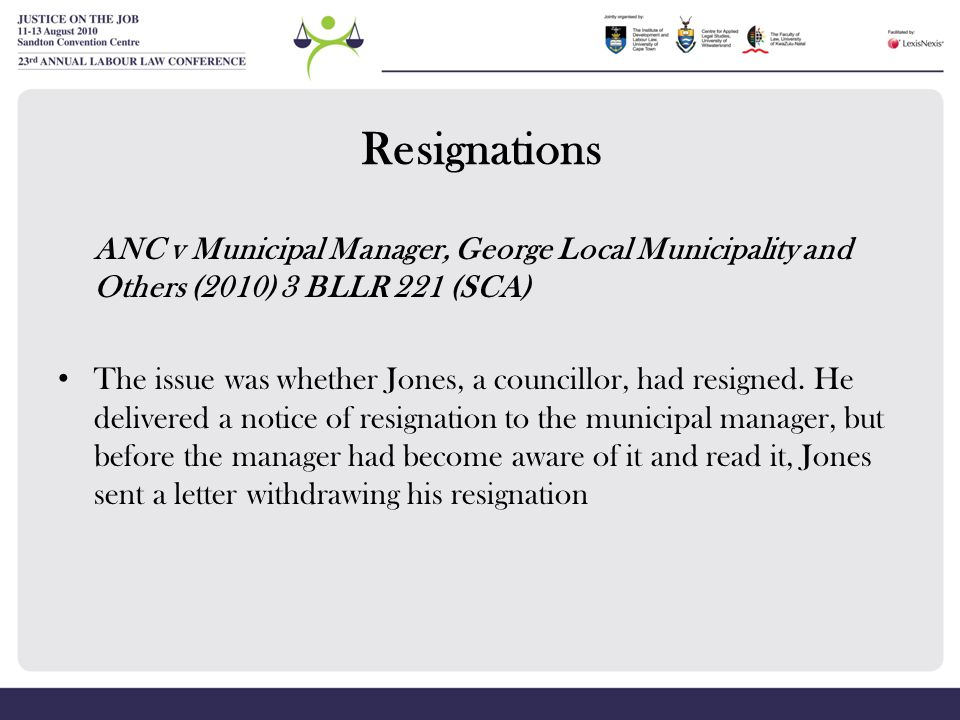 Resignations ANC v Municipal Manager, George Local Municipality and Others (2010) 3 BLLR 221 (SCA)