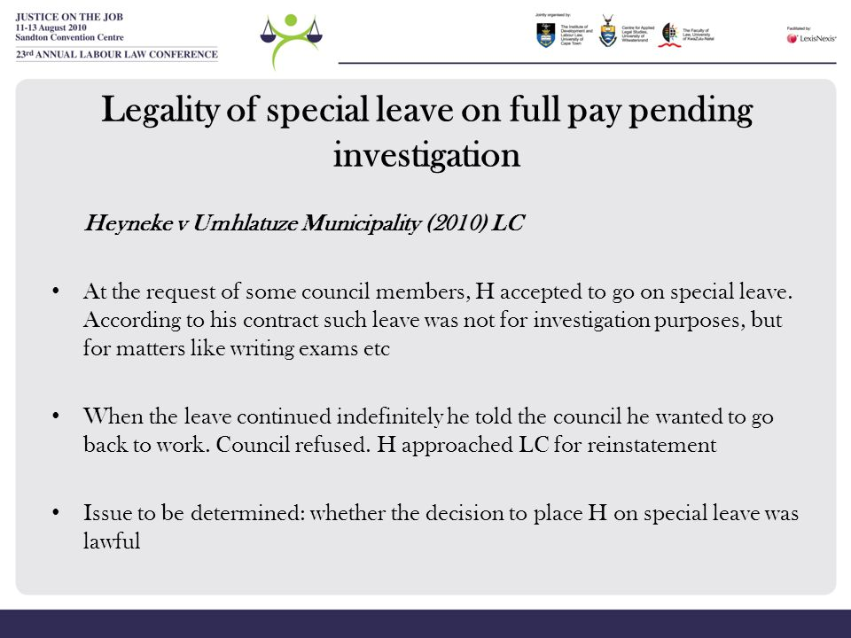 Legality of special leave on full pay pending investigation