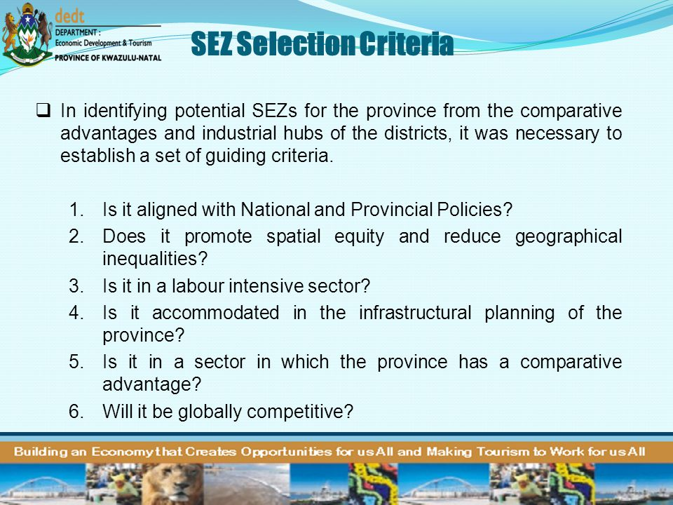 SEZ Selection Criteria
