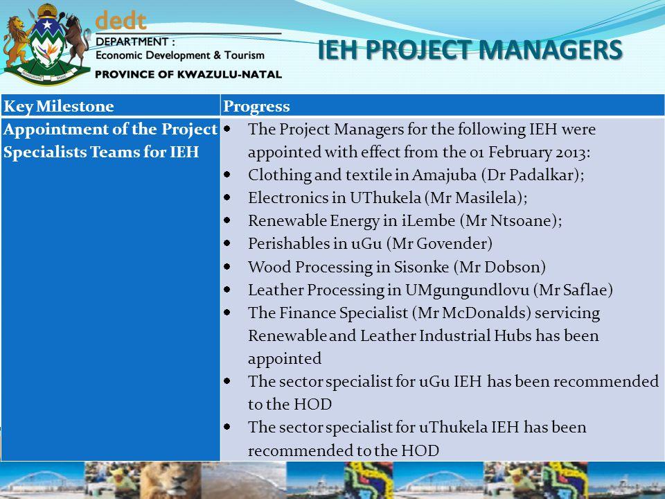 IEH PROJECT MANAGERS Key Milestone Progress