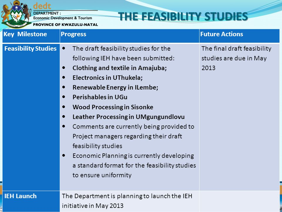 THE FEASIBILITY STUDIES