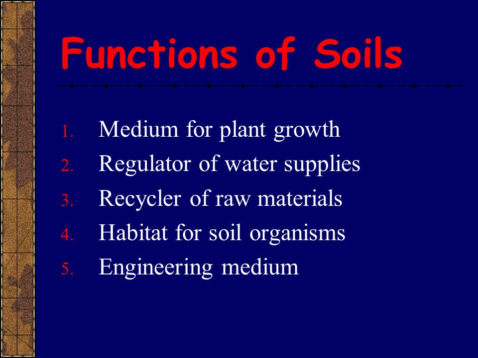 Functions of Soils Medium for plant growth Regulator of water supplies