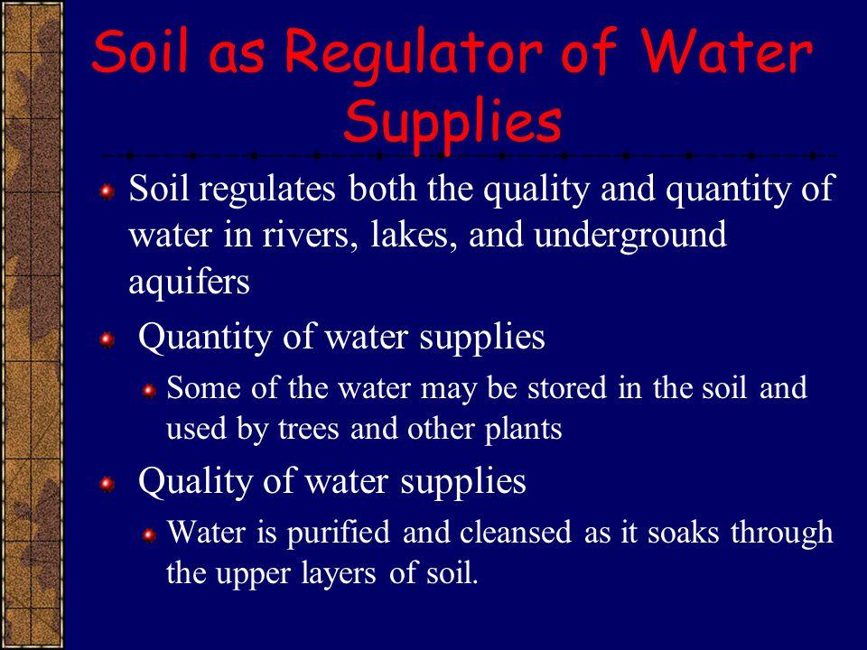 Soil as Regulator of Water Supplies
