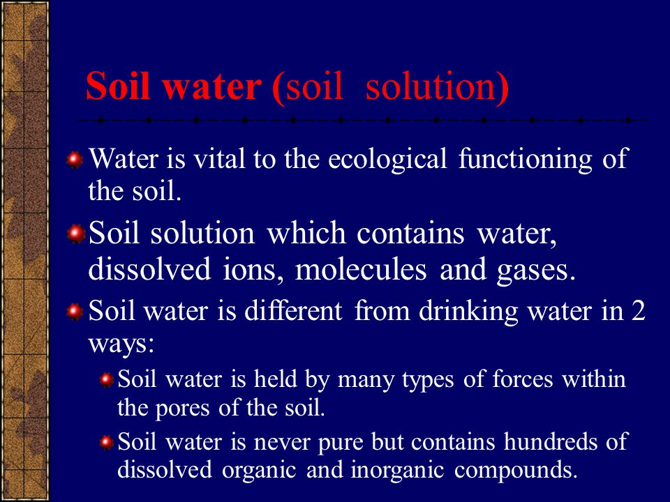 Soil water (soil solution)