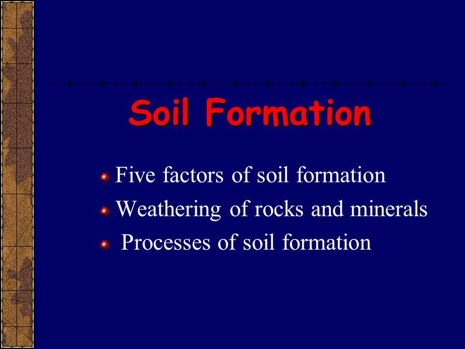 Soil Formation Five factors of soil formation
