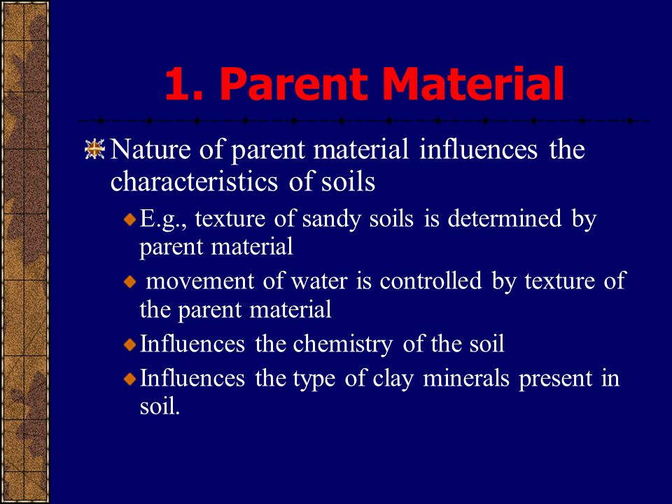 1. Parent Material Nature of parent material influences the characteristics of soils. E.g., texture of sandy soils is determined by parent material.
